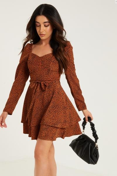 Petite Brown Animal Print Mini Dress